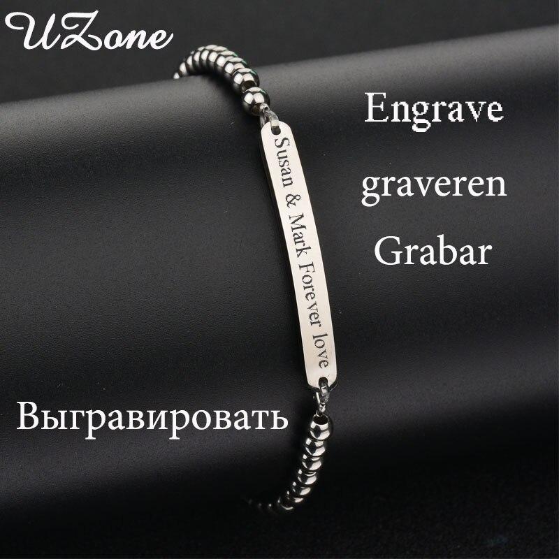 UZone Engraving Blanks Ball Bracelets Stainless Steel Personalized Name Bracelets Family Gift