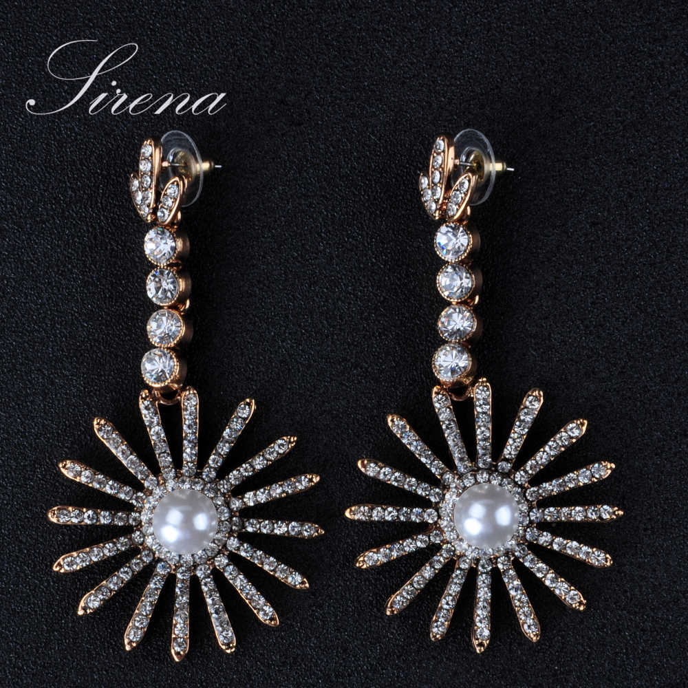 Ec215 Ec216 Luxury Vintage Gold Color Silver Color Sun Dangle Drop  Chandelier Cz Crystal Imitation Pearls Earrings Jewelry