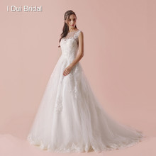 Illusion Neckline Wedding Dresses New Lace Appliqued Real Photo(China)