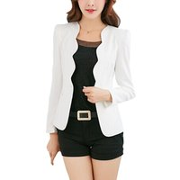 Spring OL Fashion Women Slim Blazer Coat Casual Jacket Long Sleeve One Button Suit Ladies Work Blazers 3