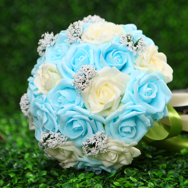 Artificial rose bridal wedding bouquet pink white blue bouquet of artificial rose bridal wedding bouquet pink white blue bouquet of bride wedding accessories wedding accessories buque de noiva in wedding bouquets from mightylinksfo
