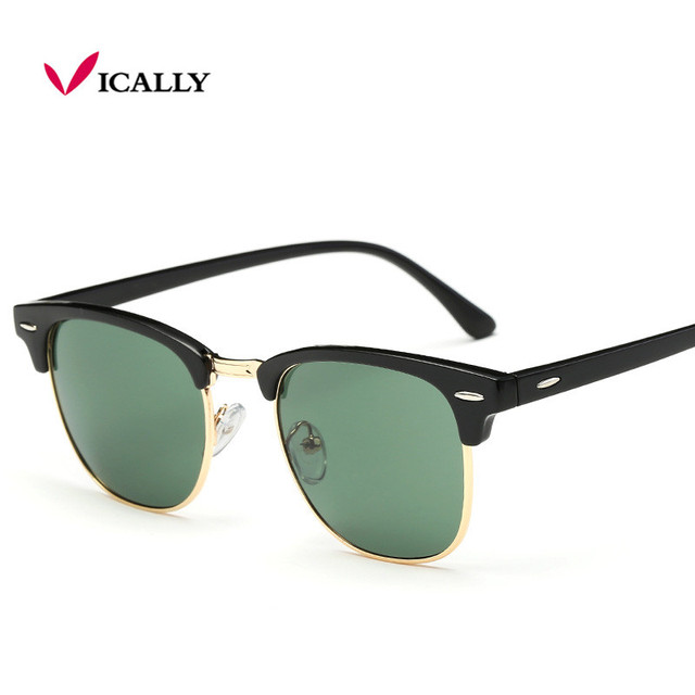7596806f60c Half Metal Sunglasses Men Women Brand Designer Glasses Mirror Sun Glasses  Fashion Gafas Oculos De Sol