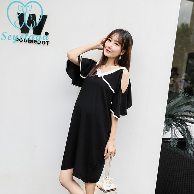 299ab456b1c05 6619# V Neck Shoulder Off Black Chiffon Maternity Dress Summer Korean  Fashion Clothes for Pregnant Women Sexy Pregnancy Clothing