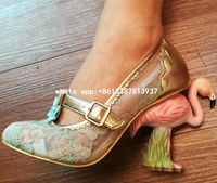 2017 Spring New Hot Women Pink Green Embroidery Hollow Out Exquisite Painted Flamingo Heel Round Toe Strange Style Pumps Shoes