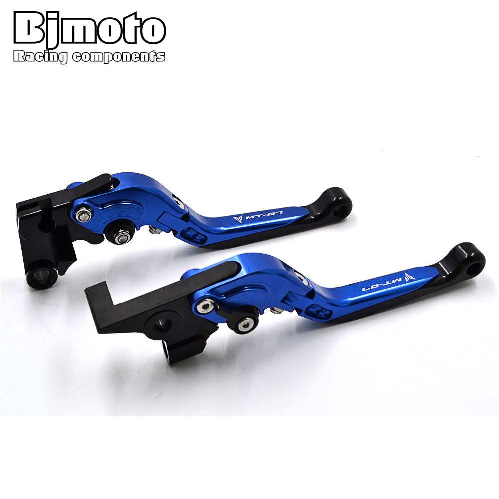 Bjmoto Motorcycle CNC Aluminum Adjustable Brake Clutch Levers for Yamaha MT-7 MT07 2014 2015 2016 2017 2018 With MT 07 Logo titanium cnc aluminum racing adjustable rearset foot pegs rear sets for yamaha mt 07 fz 07 mt07 fz07 2013 2014 2015 2016