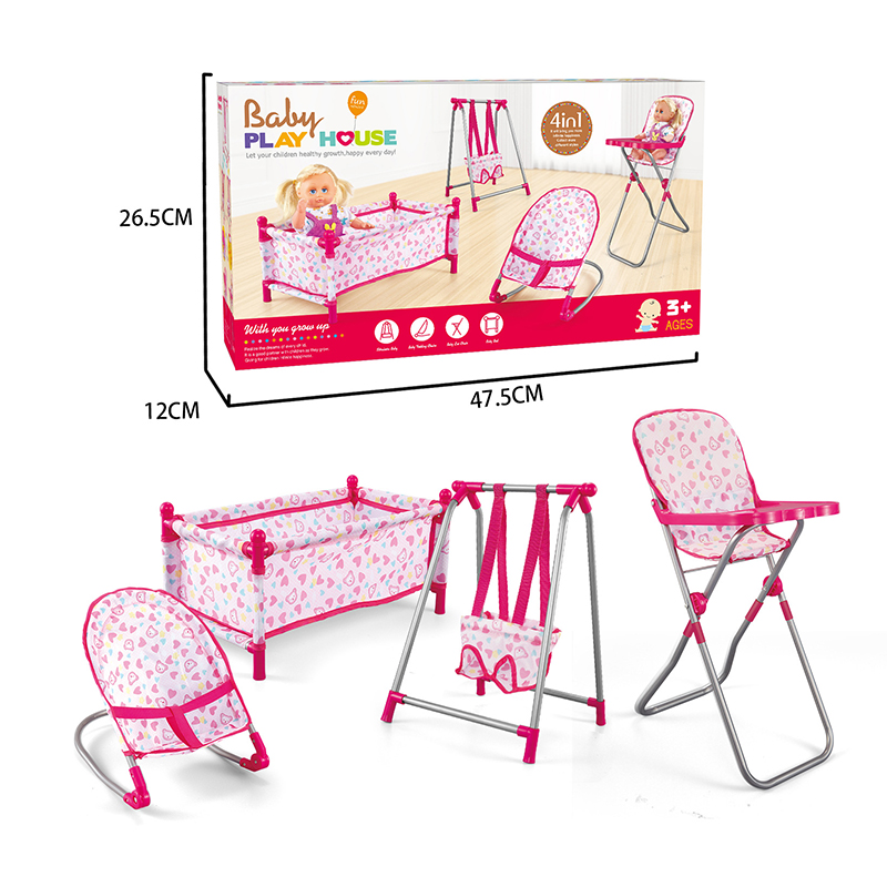 Doll House Accessories Dollhouse Rocking Chairs Swing Bed Dining Chair Set 4 In 1 Baby Play House Pretend Play Toy For Kids
