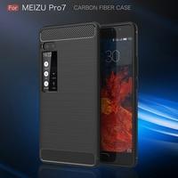 Rugged Armor Case For Meizu Pro 7 Carbon Fiber Texture Soft TPU Fitted Case For Meizu Pro 7 Case Cover Funda Cubierta Phone Case