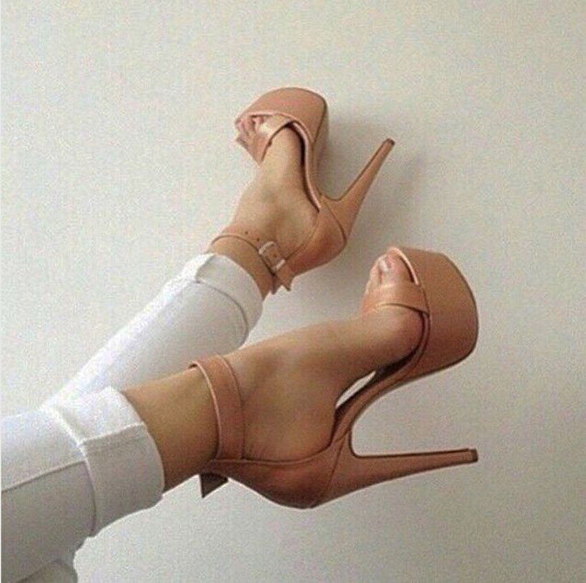 New Summer Fashion Nude Color High Heel Platform Sandals Cover Heel Design Ankle Buckles Sandals Open Toe Dress Shoes рубашка мужская finn flare цвет голубой b18 21023 размер 4xl 58