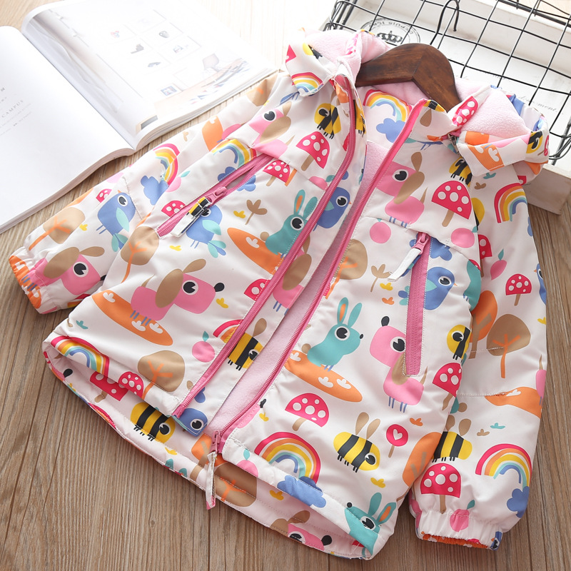 Baby Coat Winter Autumn Jacket Girls Hoodies children Warm Thick outerwear Clothes Floral Christmas Jacket 4 5 years Snow Coat in Down Parkas from Mother Kids