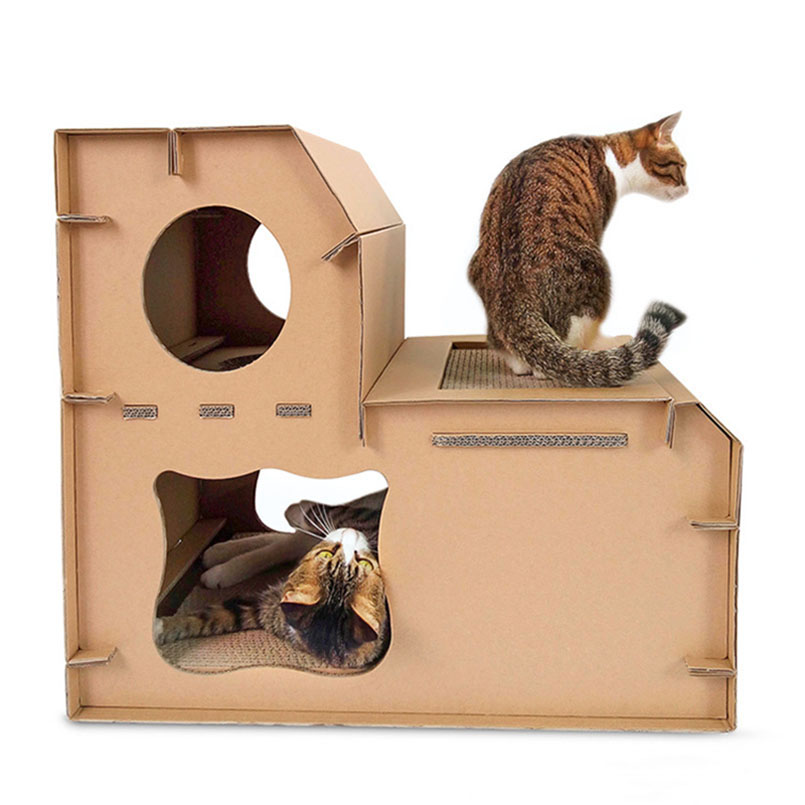 Cat Scratcher House Corrugated Paper Lounge Durable Playhouse With Board Suitable For Indoor Use