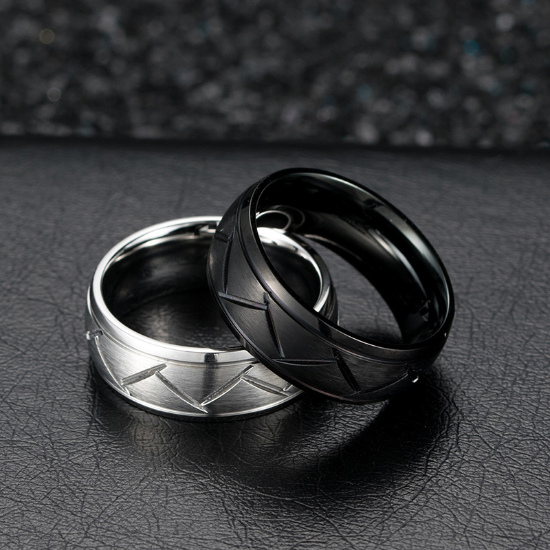 8MM Black Stainless Steel Ring For Men Wedding Bands Twill Cool Vintage Ring monochrome