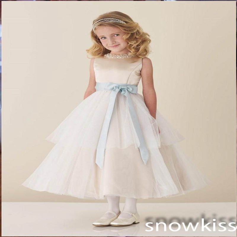 New elegant mid-calf A-line solid ivory/white flower girl dress beautiful beading crystal wedding birthday formal occasion gowns new white ivory nice spaghetti straps sequined knee length a line flower girl dress beautiful square collar birthday party gowns