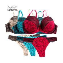 Fashwell Sexy Intimates Embroidery Floral Women Bra Brief Sets Plus Size Lace Women Underwear Panty Set 3 set/lot