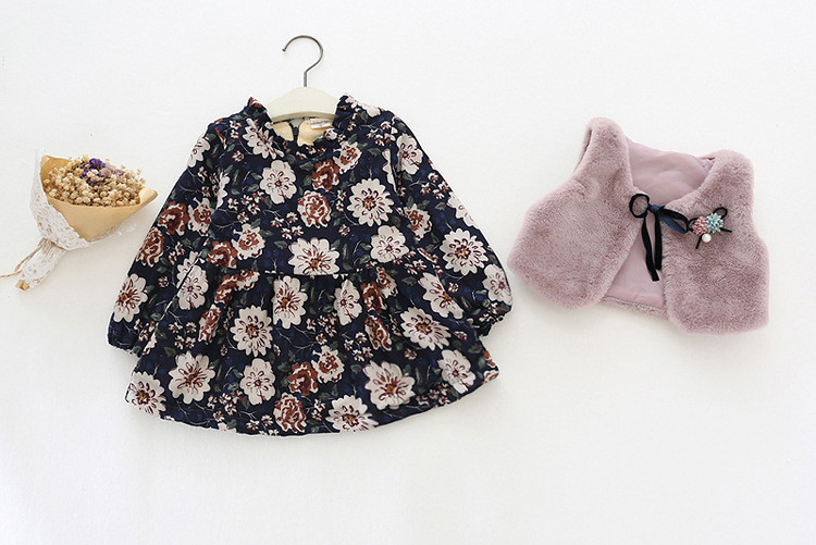 Girls Winter Clothes Thickened Cotton Floral Dress + Faux Fur Vest Set Fashion Warm Baby Girl Winter Clothes For Kids1001