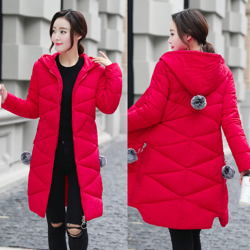 2018 New winter women's clothing long cotton-padded jacket coat red green warm Women's   parka   Wadded Down Outerwear femme padded