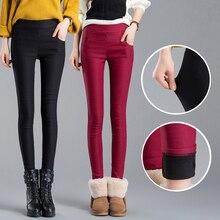 2017 women pants capris pencil pants fleece warm casual female trousers elastic Autumn Winter velvet thick leggings dropshipping