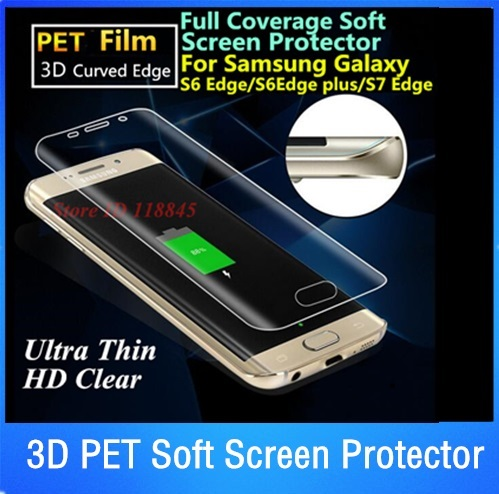 By DHL 100pcs 3D Curved Edge PET Soft Full Cover Screen Protector For Samsung Galaxy S7 Edge S6 Edge S8 Plus Protective Film