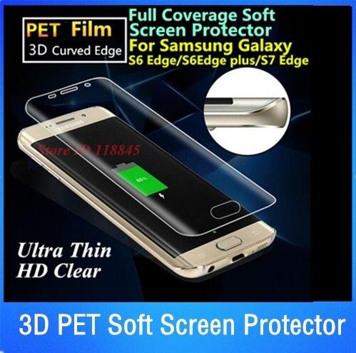 imágenes para Por DHL 100 unids 3D Borde Curvo Pantalla MASCOTA Suave Cubierta Completa Protector Para Samsung Galaxy Borde Borde S6 S7 S8 Más Protectora película
