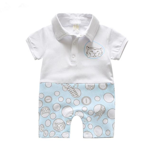 2017 marca de moda de lujo de Japón top diseño bebé recién nacido de verano de manga corta solapa impresiones tigre mono de los mamelucos ropa