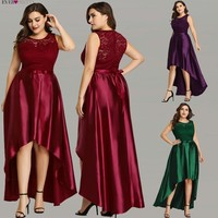 Robe De Soiree Ever Pretty EZ07702 Cheap Satin Burgundy Lace A line Sleeveless Evening Dresses Plus Size Special Occasion Gowns