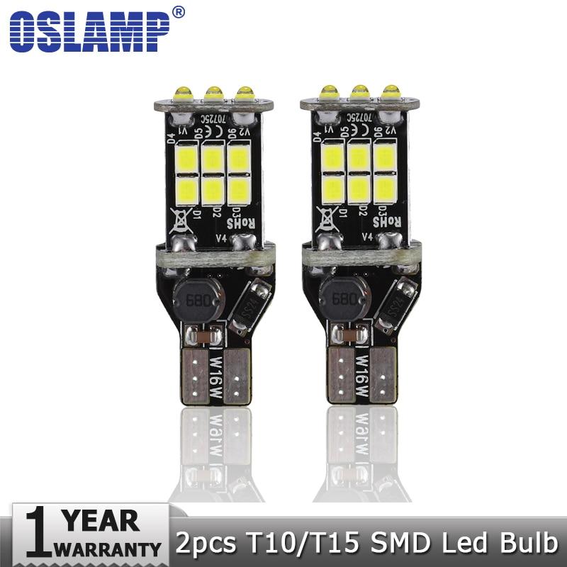Oslamp 2pcs T15 Led Car Light Bulbs SMD White 6000K DC12V Clearance Light Break Light Turn Signal Lamp Backup Reverse Light highlight h3 12w 600lm 4 smd 7060 led white light car headlamp foglight dc 12v