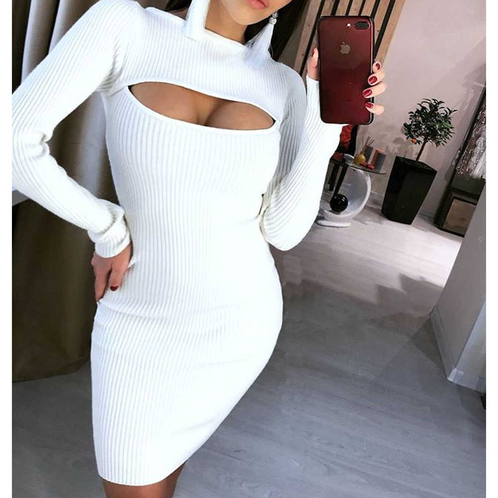 3d7720e554fa European and American Women Sexy Open-chest Elastic Knitted Bodycon Dress  Spring Long Sleeve Slim