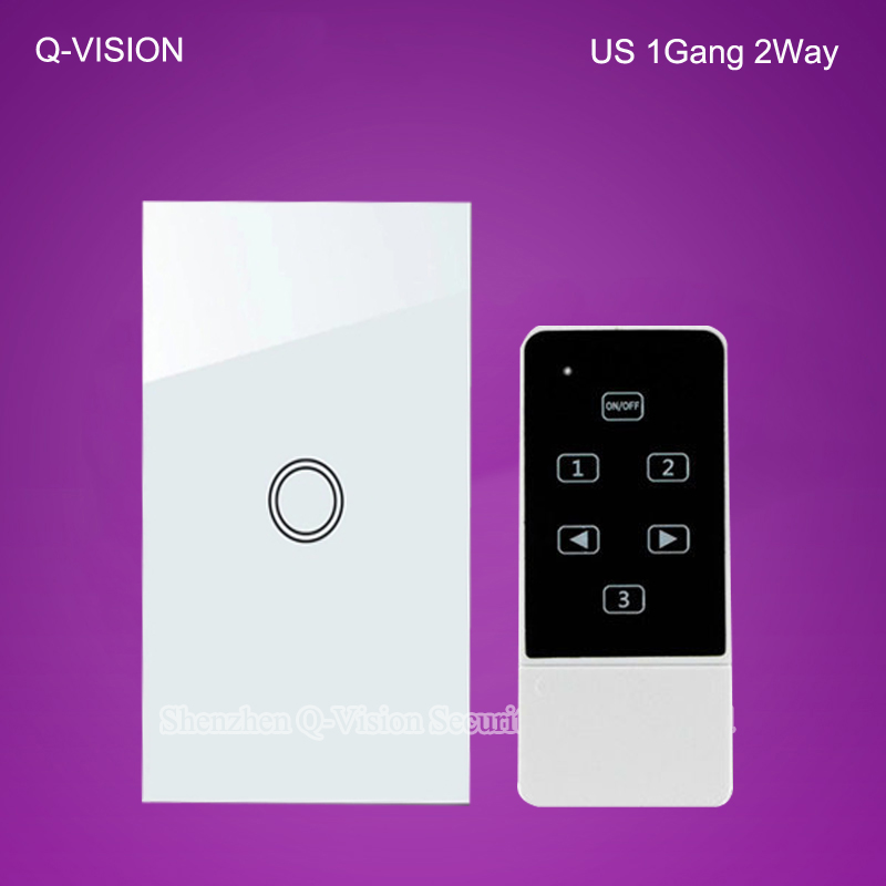 US 1Gang 2 Way Wireless Remote Touch Wall Light Switch Smart Home via Broadlink RM2 RM Pro Geeklink Tempered Glass RF433 White