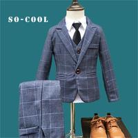 2018 Fashion New 5PCS Kids Lattice Wedding Blazer Suit Brand Flower Boys Formal Tuxedos School Suit Kids Spring Clothing Set