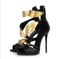 Лучшая продажа новые поступления летние босоножки с позолотой женские туфли на высоком каблуке пикантные туфли с открытым носком на молнии