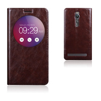 7 Color Natural Top Genuine Leather Smart Window Flip Stand Cover Case For Asus Zenfone 2