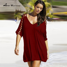 Lan Karswear New 2018 Summer Dresses Sexy V-neck Big Size Women Beach Dress Casual Mini Dress Plus Size Women Clothing Vestidos