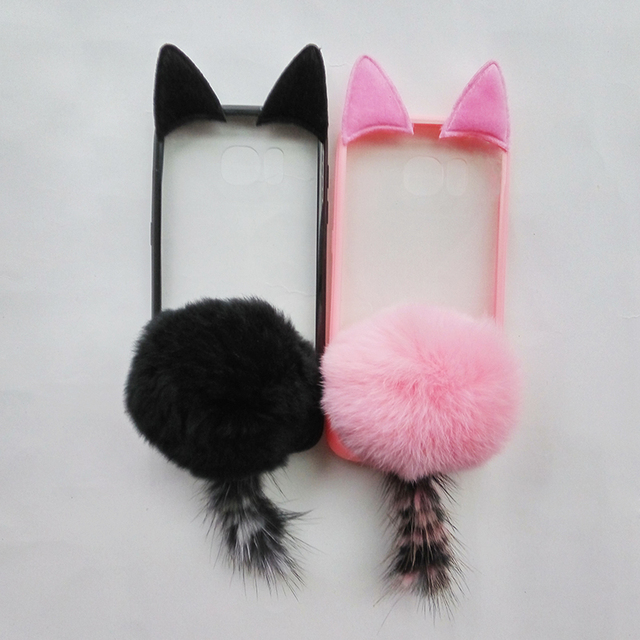 3D Cute Pussy Cat Ear Tail Soft Case Furry Back Cover Cartoon Fur Ball For Samsung S6  S7  S8 A5 J5 J7 Note8/G530