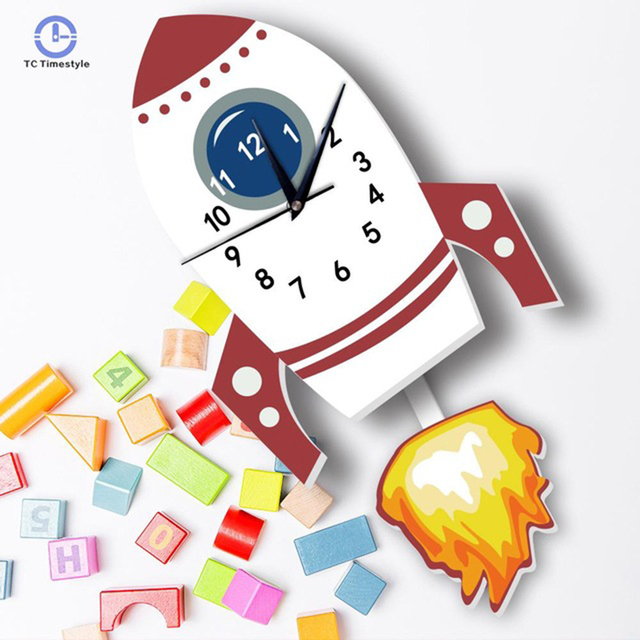 Nordic Clock Rocket Shape Child Wall Clock Bedroom Pendulum Watch Cartoon Home Decoration Accessories Modern