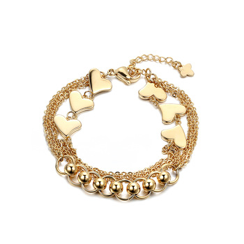 New Style Brand Gold Heart And Beads Charm Bracelets & Bangles Multi Mode Accessories Chain Bracelets For Women Pulsera