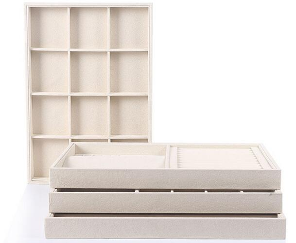 Unique Beige Velvet Jewelry Tray Jewellery Display Box Necklace Earring Pendant Stud Organizer Other Accessories Show Case