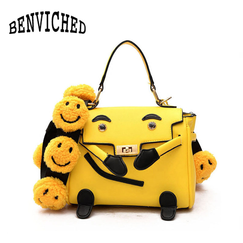 BENVICHED 2018 New Fashion Smiling Face Women Shoulder Bag High Quality PU Leather Ladies Messenger Bag Top handle Bags L060 2017 new arrival women envelope shoulder bag high quality pu leather messenger bags fashion style women bag yellow st9340