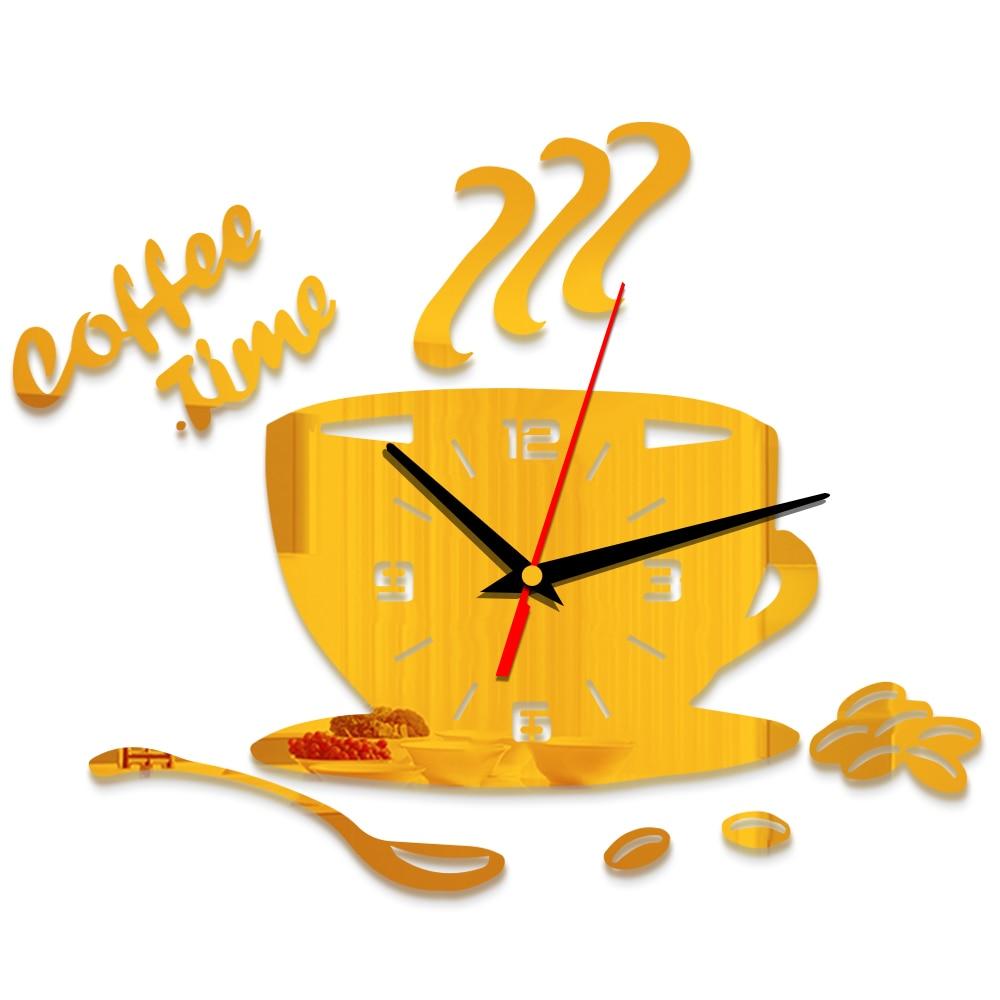 Creative DIY Acrylic Kitchen Wall Clock Modern Design Coffee Cup ...