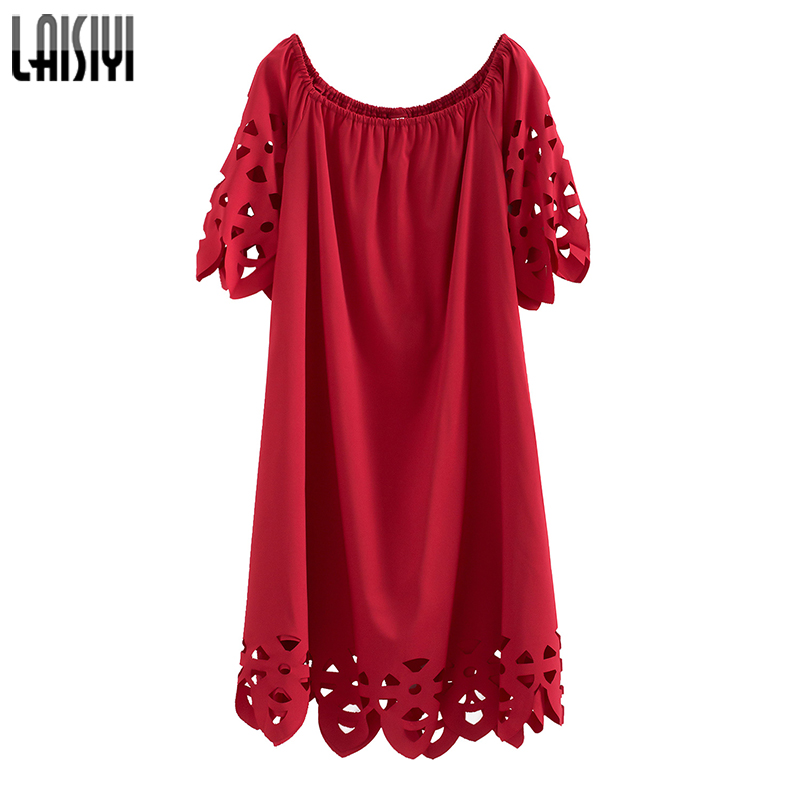 LAISIYI D'été Bohème Plage Sexy Robe Encolure Slash Cou Évider Élégant Robes Casual Rouge Noir Robes ASDR20856