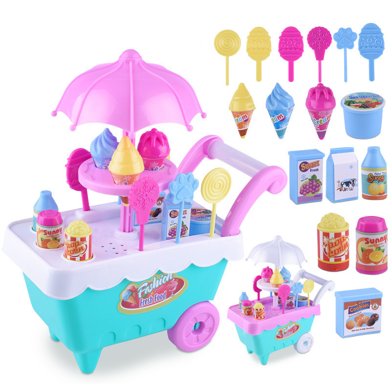 1 Set Children Kids Girl Toy Trolley Role Play Mini Simulation Birthday Gift Fun Game Candy Ice Cream Trolley Play House Toy image