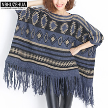 NBHUZEHUA 7G253 4XL 5XL 6XL Spring Autumn Women Poncho Knitted Sweater Top Ladies Tassel Wool Pullover Coat Plus Size Feminino(China)