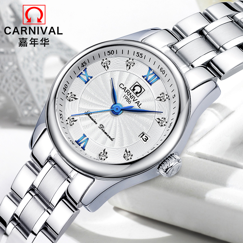 Carnival Stainless Steel Quartz Watch Women 30M Waterproof Clock Ladies Top Brand Luxury Watches Galendar Wrist Watch kol saatiCarnival Stainless Steel Quartz Watch Women 30M Waterproof Clock Ladies Top Brand Luxury Watches Galendar Wrist Watch kol saati