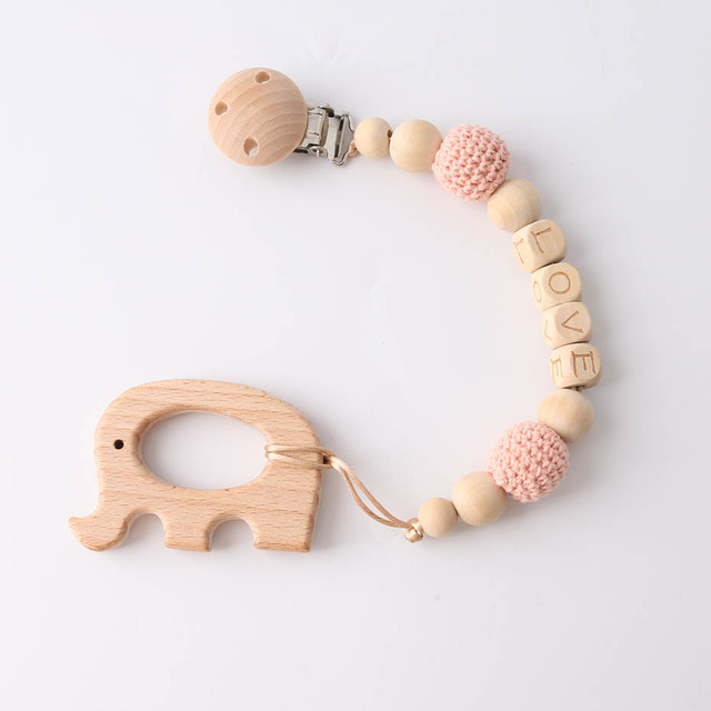 1pc Wooden Teether Wood Pendant For Pacifier Chain Baby Products Animal Wooden Blank Rodent Baby Teethers Birth Nurse Gifts Toys 5