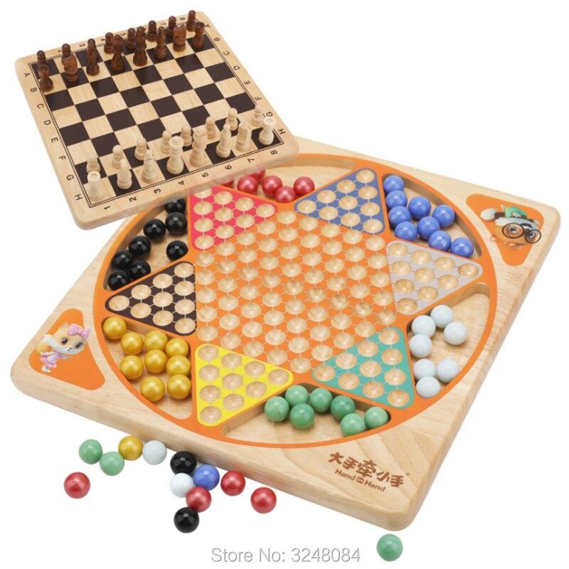 Nouvelle vente 1 ensemble bonne qualité en bois jouets échecs dames bois Grain Board jeu d'échecs Puzzle jouet pour enfants famille jeu ensemble cadeau