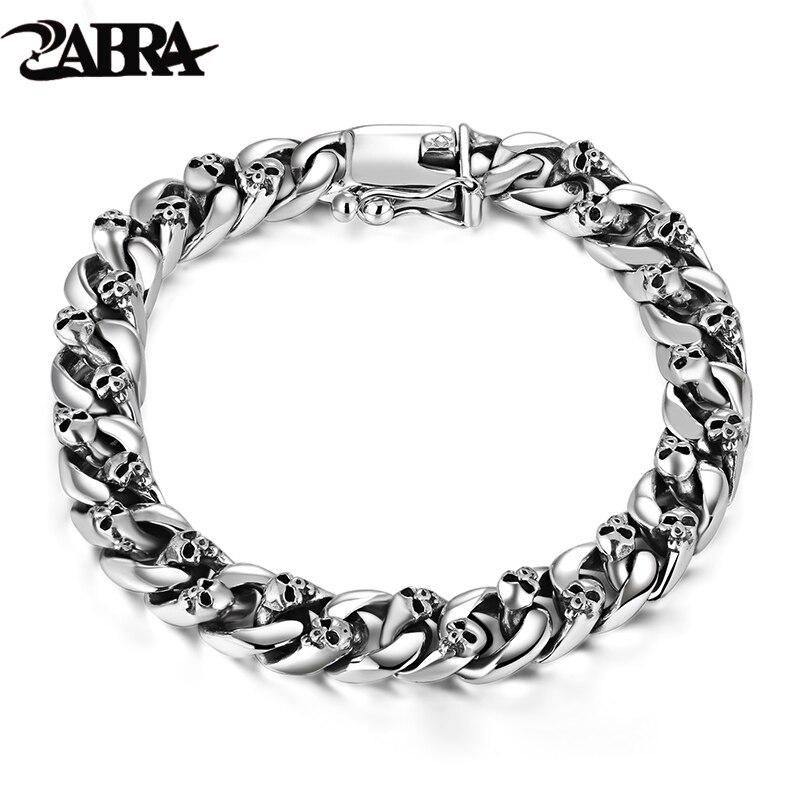 ZABRA Authentic 925 Sterling Silver 8mm Skull Bracelet Link Chain Mens Bracelet Vintage Thai Silver Punk