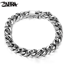 ZABRA подлинный телефон, серебро 8 мм, браслет с черепом, звеньевая цепь, мужской браслет, винтажный тайский серебряный панк браслет, мужские ювелирные изделия