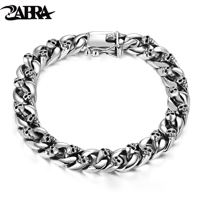 ZABRA Authentic 925 Sterling Silver 8mm Skull Bracelet Link Chain Mens Bracelet Vintage Thai Silver Punk Bracelets Men Jewelry vanaxin mens bracelets chain brass cubic zirconia silver color male bracelets cuba chian wholesale vintage punk jewelry gift box