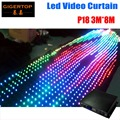 P18 3M*8M/8M*3M Black Color Velvet LED DJ Front-board Skirt with Motion Graphics 704 Tri-color SMD LED Power 30 Different Effect