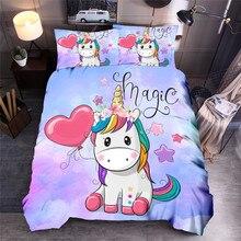 Juego de ropa de cama de unicornio con dibujos, juegos de fundas de edredón estampados universo Queen King, colcha de cama
