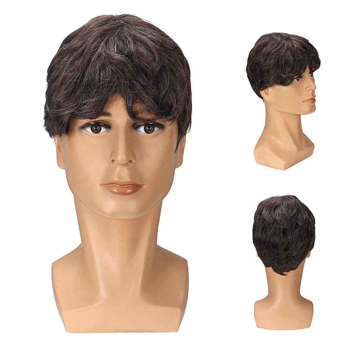 High Temperature Fiber Mannequin Curly Hair DIY Styling Training Head Model Men Wig Salon Hairdressing Weaving Cap