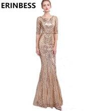 2018 Gold Sequined Evening Dresses Vestido De Festa  Scoop Neck Half Sleeve Mermaid Prom Party Gowns For Women